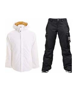 Burton TWC Cozy A-Line Jacket Bright White w/ Burton Fly Pants True Black/Dobby