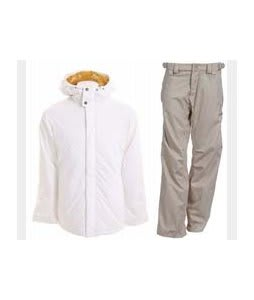 Burton TWC Cozy A-Line Jacket Bright White w/ Foursquare Kim Pants Sandstone Hatch
