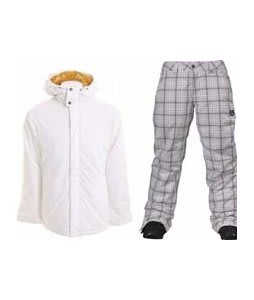 Burton TWC Cozy A-Line Jacket Bright White w/ Burton Society Pants Bright White Line Plaid Print