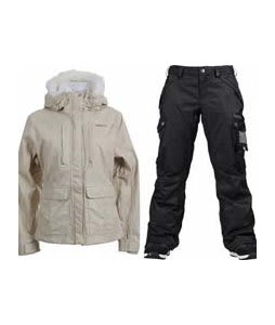 Foursquare Peterson Jacket Sandstone Hatch w/ Burton Fly Pants True Black/Dobby