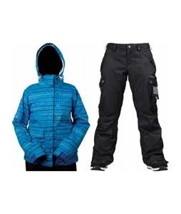 Foursquare Tevis Jacket Regatta Lil Stripes w/ Burton Fly Pants True Black/Dobby