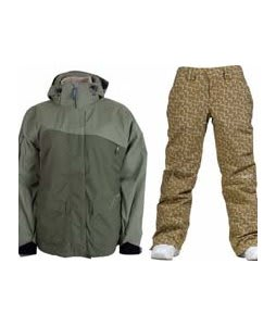 Sessions Siryn 4 in 1 Jacket Drab w/ Burton Society Pants Doodle Print Capers