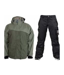 Sessions Siryn 4 in 1 Jacket Drab w/ Burton Fly Pants True Black/Dobby