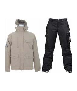 Special Blend Shifter Jacket Tan Check Grid w/ Burton Fly Pants True Black/Dobby