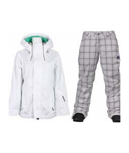 Vans Hana Insulated Jacket Brt Wht Wnd w/ Burton Society Pants Bright White Line Plaid Print