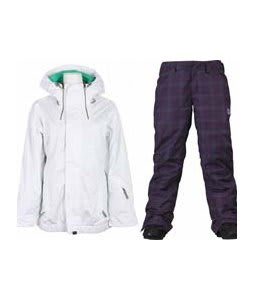 Vans Hana Insulated Jacket Brt Wht Wnd w/ Burton Society Pants Mulberry Line Plaid