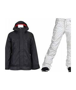 Vans Zissou Insulated Jacket Vans Black w/ Burton TWC Flared Pants Bright White Dot Print