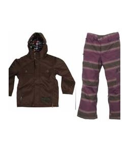 Burton Entourage Jacket Mocha w/ Burton The White Collection Cosmic Delight Pants Mocha Faded Stripe