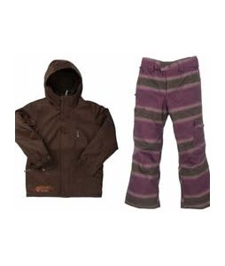 Burton Apollo Jacket Mocha w/ Burton The White Collection Cosmic Delight Pants Mocha Faded Stripe