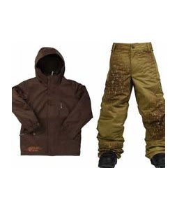 Burton Apollo Jacket Mocha w/ Burton Standard Snow Pants Mocha Geoflip