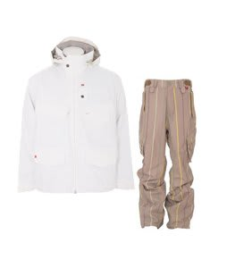 Foursquare Wright Jacket White w/ Foursquare Boswell Pants Tan A Poppin