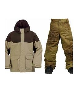 Burton Element Insulated Jacket Burlap w/ Burton Standard Snow Pants Mocha Geoflip