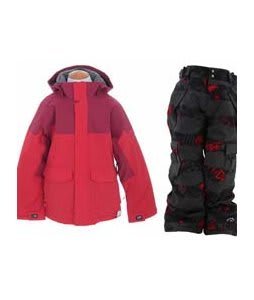 Burton Element Insulated Jacket True Red w/ Ride Charger Snow Pants Torn Stripe Print Red