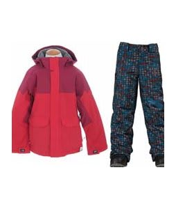 Burton Element Insulated Jacket True Red w/ Burton Cyclops Snow Pants Hydroplane Block Prints