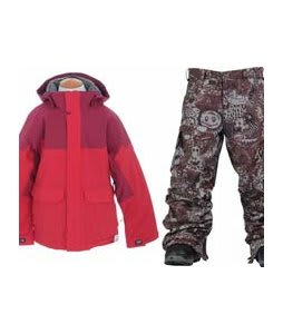 Burton Element Insulated Jacket True Red w/ Burton Cargo Snow Pants Gunmetal Opti 3D