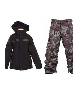 Burton TWC Transmission Jacket True Black w/ Burton Cargo Snow Pants Gunmetal Opti 3D