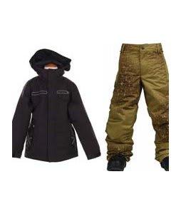 Burton TWC Transmission Jacket True Black w/ Burton Standard Snow Pants Mocha Geoflip