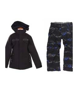 Burton TWC Transmission Jacket True Black w/ Ride Charger Insulated Snow Pants Torn Stripe Print Electric Blue