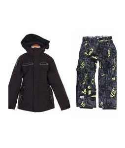 Burton TWC Transmission Jacket True Black w/ Ride Charger Youth Snow Pants Ruckus Print Lime