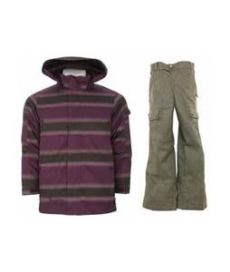 Burton The White Collection Cosmic Delight Jacket Mocha Faded Stripe w/ Burton Cargo Smalls Pants Burlap