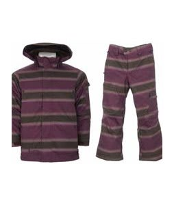 Burton The White Collection Cosmic Delight Jacket Mocha Faded Stripe w/ Burton The White Collection Cosmic Delight Pants Mocha Faded Stripe
