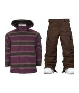 Burton The White Collection Cosmic Delight Jacket Mocha Faded Stripe w/ Burton Cargo Snow Pants Mocha
