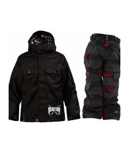 Burton Entourage Jacket True Black w/ Ride Charger Snow Pants Torn Stripe Print Red