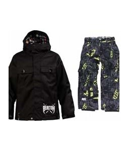 Burton Entourage Jacket True Black w/ Ride Charger Youth Snow Pants Ruckus Print Lime
