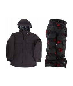 Ride Hemi Youth Jacket Black w/ Ride Charger Snow Pants Torn Stripe Print Red