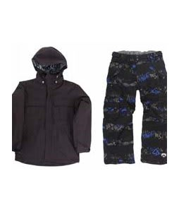 Ride Hemi Youth Jacket Black w/ Ride Charger Insulated Snow Pants Torn Stripe Print Electric Blue