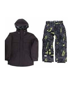 Ride Hemi Youth Jacket Black w/ Ride Charger Youth Snow Pants Ruckus Print Lime
