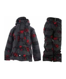 Ride Hemi Jacket Torn Stripe Print Red w/ Ride Charger Snow Pants Torn Stripe Print Red