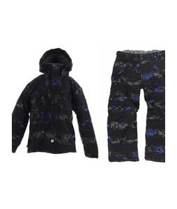 Ride Hemi Jacket Torn Stripe Print Electric w/ Ride Charger Insulated Snow Pants Torn Stripe Print Electric Blue