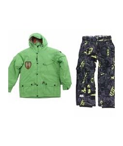 Sessions Magneto Jacket Lime w/ Ride Charger Youth Snow Pants Ruckus Print Lime