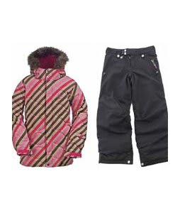 Burton Allure Puffy Jacket Diag Stripe Wild Flwr w/ Sessions Star Snow Pants Black Magic