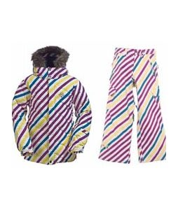 Burton Allure Puffy Jacket Diag Stripe Banana w/ Burton Elite Snow Pants Diag Stripe Banana