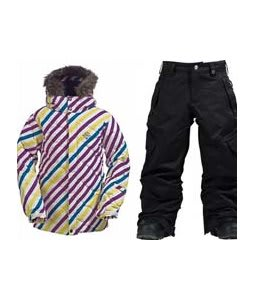 Burton Allure Puffy Jacket Diag Stripe Banana w/ Burton Elite Cargo Snow Pants True Black