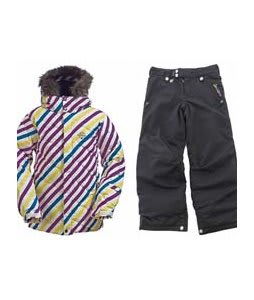 Burton Allure Puffy Jacket Diag Stripe Banana w/ Sessions Star Snow Pants Black Magic