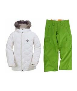 Burton Allure Puffy Jacket Bright White w/ Foursquare Lil Fuji Pants Bamboo