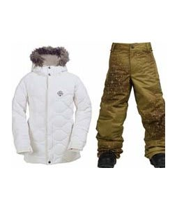Burton Allure Puffy Jacket Bright White w/ Burton Standard Snow Pants Mocha Geoflip