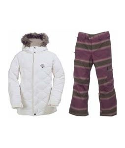 Burton Allure Puffy Jacket Bright White w/ Burton The White Collection Cosmic Delight Pants Mocha Faded Stripe