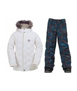 Burton Allure Puffy Jacket Bright White w/ Burton Cyclops Snow Pants Hydroplane Block Prints