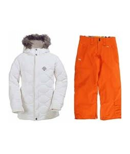 Burton Allure Puffy Jacket Bright White w/ Foursquare Kate Pants Sizzle