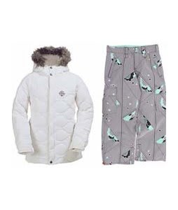 Burton Allure Puffy Jacket Bright White w/ Foursquare Lil Fuji Pants Cloudy Daze