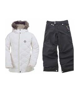 Burton Allure Puffy Jacket Bright White w/ Sessions Star Snow Pants Black Magic