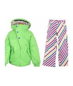 Burton Lavish Bomber Jacket Sonic Green w/ Burton Elite Snow Pants Diag Stripe Banana