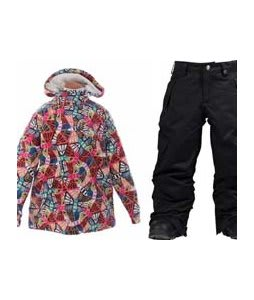 Burton Perception Jacket Butterfly Prnt w/ Burton Elite Cargo Snow Pants True Black