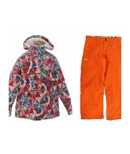 Burton Perception Jacket Butterfly Prnt w/ Foursquare Kate Pants Sizzle