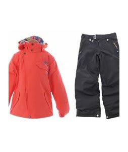 Burton Perception Jacket Hot Coral w/ Sessions Star Snow Pants Black Magic