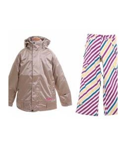 Burton Reflex Jacket Glimmer w/ Burton Elite Snow Pants Diag Stripe Banana